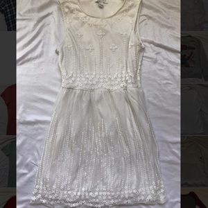 Babydoll White Embroidered Flower Dress